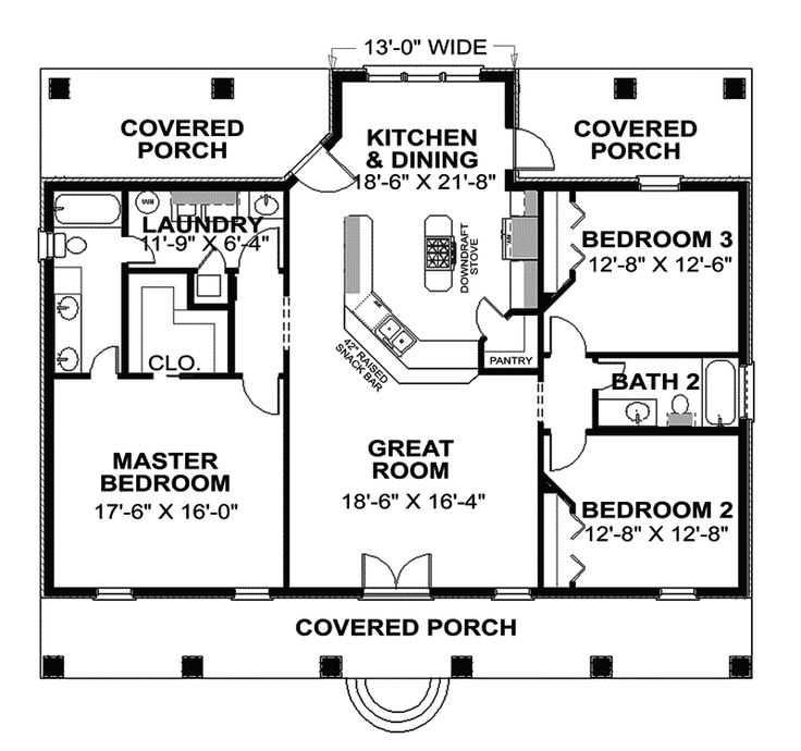 Would Reverse Laundry Room And Master Suite Want The Porch Accessible To  Bedroom. Country Style House Plans   1640 Square Foot Home , 1 Story, 3  Bedroom And ...