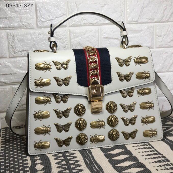 2b29bb50071 Gucci sylvie top handle bag animal studs original leather