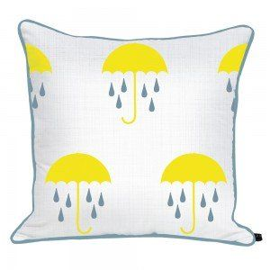 Umbrellas & Twisted Raindrops Cushion #ChuChuandMissy #KidsInteriors