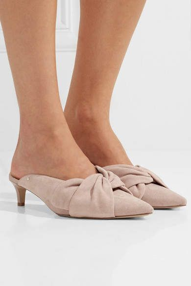 1e4321e9b Sam Edelman - Laney Bow-embellished Suede Mules - Blush