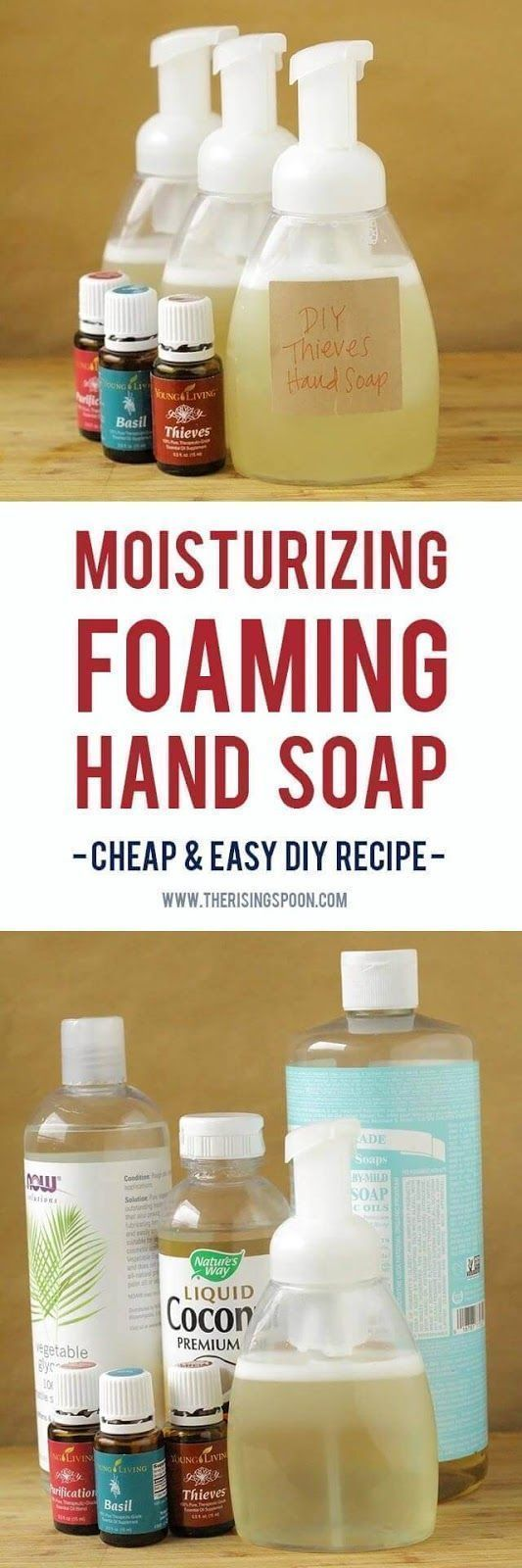 Want to make your own foaming hand soap at home? It's not hard! Try my super easy DIY recipe using a few simple and non-toxic ingredients like liquid castile soap, water, moisturizing liquid carrier oils, and essential oils. This homemade version costs pennies to make a single batch and your hands will thank you! | personal care products | essential oil recipes | homemade gifts | holiday gift ideas | #PatchouliEssentialOilsrecipes