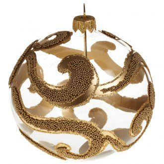 Kugel Weihnachtsbaum Glas golden glitter 10 cm | Online Verfauf auf HOLYART