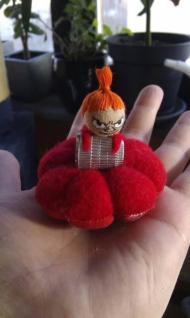 Moomin pincushion  he, he, he - who would dare try get the thimble of her?