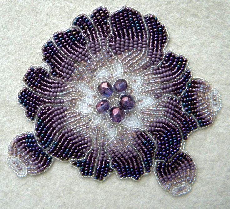 bead embroidery by olga orlova | Bead embroidery by Olga Orlova. Violet Flower Brooch