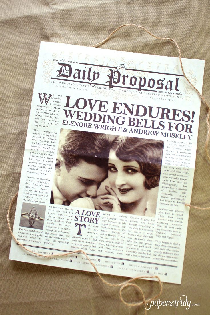 Daily Proposal - Paper Truly - Inspired by the Art Deco era and vintage newspaper layouts, this newspaper wedding invitation design features customizable photography, articles, and a fun games section. The RSVP card contains space on the back to send a telegram to the bride and groom!