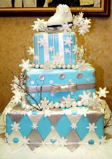 Buddy's Cake Creations Three-Tiered Ice Skating Cake