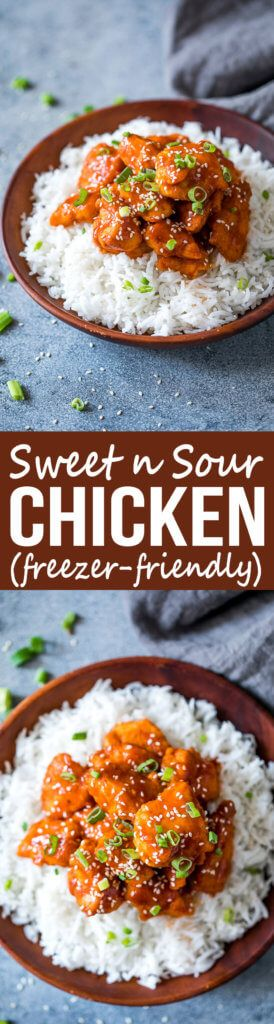 Baked Sweet and Sour Chicken with instructions for making it a freezer meal. This is a family favorite!