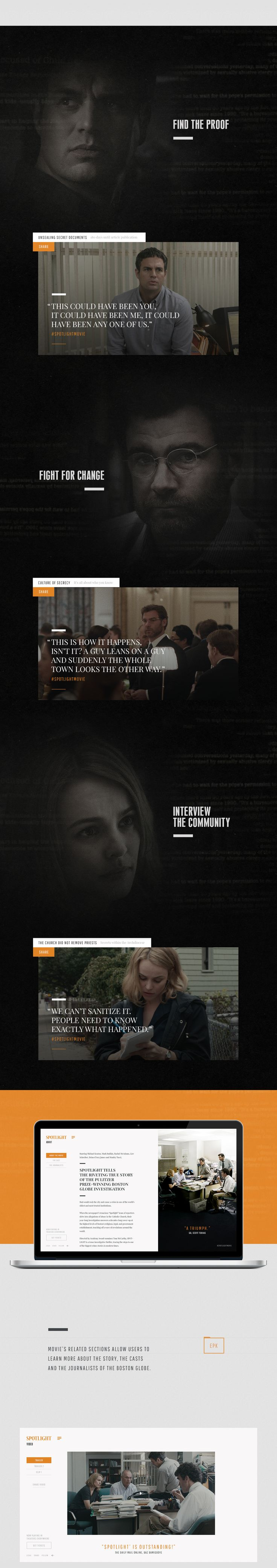 Official Spotlight website.Spotlight is the Best Picture and Best Original Screenplay academy award winner 2016. The movie is about the true story of how the Boston Globe uncovered the massive scandal of child molestation and cover-up within the local Ca…