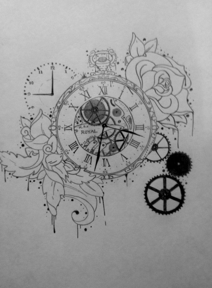 Tattoo Illustration, Pocket Watch, Time, Gears, Clock, Rose, Drawing, Pencil, Leaves