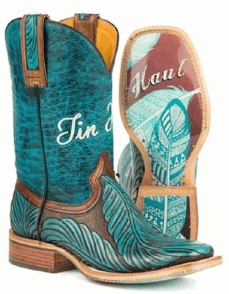 Tin Haul Women's Feathers Hand Tooled Boots