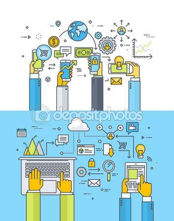 Набор тонкая линия плоский дизайн концепции для мобильного бизнеса и финансов, м банкинг, m коммерции, облако вычислений, онлайн бизнес-коммуникации и услуги — Векторная картинка #79130114