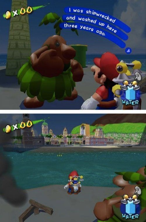 Um.. he does know that boats circle the island on their routes and the shore isn't that far, right? #SuperMarioSunshine #GameCube #Mario