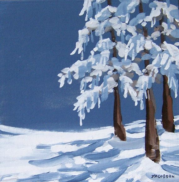 "Original Painting - ""Snow on Cedar"", Winter Scene, Landscape, Acrylic Painting"