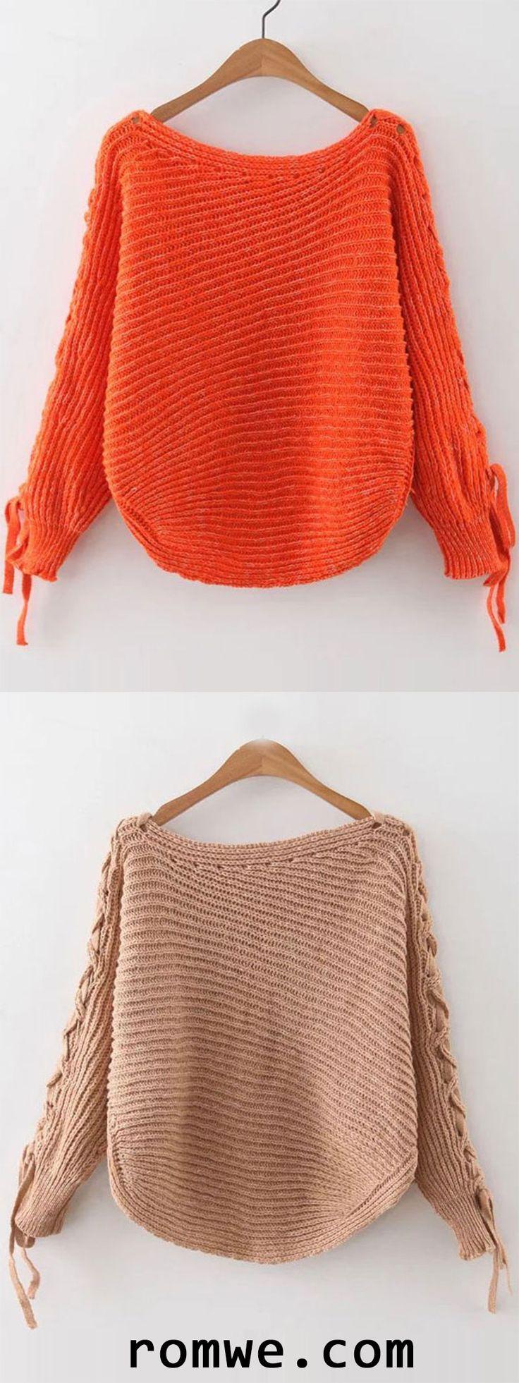 Khaki & Orange Ribbed Lace Up Sleeve Loose Sweater