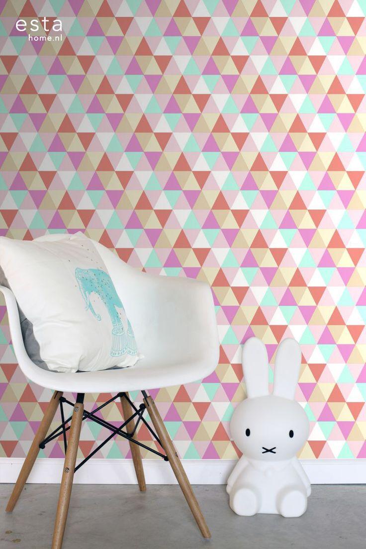 ESTAhome.nl - maak je huis gezellig! vliesbehang driehoekjes roze, turquoise en koraal behang, fotobehang, gordijnstof en dekbedovertrekken