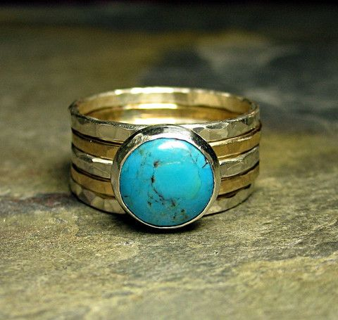 California Skies - Set of 5 stacking rings with mixed sterling silver and gold fill bands and natural turquoise stone    ....from Lavender Cottage Jewelry