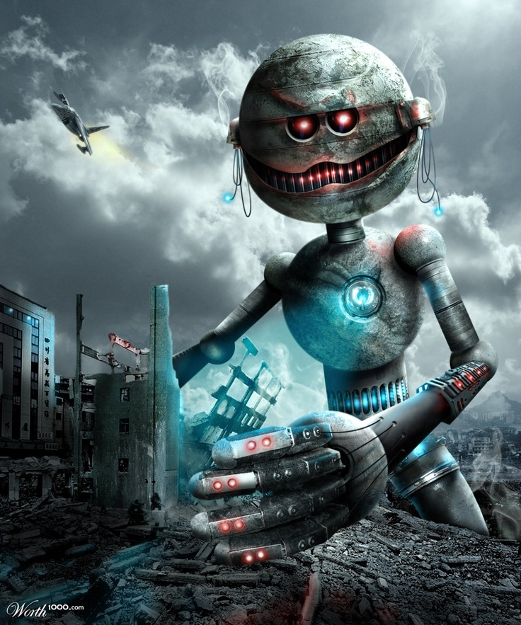 XOO Photo  Evil Monster Robot Destroys City - Scary looking red - monster upload resume