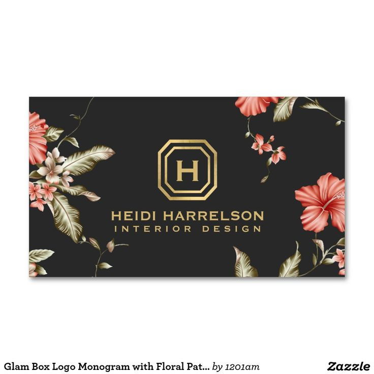 Glamorous Monogram with Vintage Floral Pattern Customizable Business Cards for Interior Designers