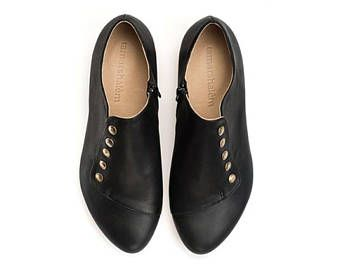 Black leather flat shoes, Grace, Handmade leather shoes