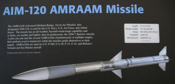 https://flic.kr/p/5FPGvp | AIM-120 | AIM-120 AMRAAM Missile  The AMRAAM (Advanced Medium-Range, Air-to-air Missile), also designated AIN-120, is used by the U.S. Navy, U.S. Air Force, and Allied forces. The missile has an all-weather, beyond-visual-range capability and is faster, yet smaller and lighter, than its predecessor, the AIM-7 Sparrow missile. A pilot can aim and fire several AMRAAMs simultaneously at multiple targets, then perform evasive maneuvers while missiles guide themselves…