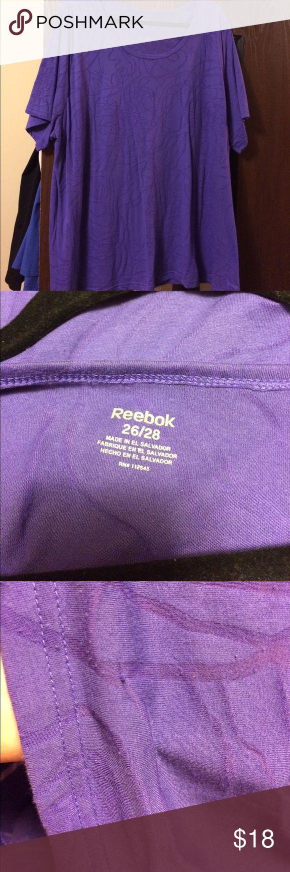 Reebok Purple Tee Reebok Purple Tee, size 26/28.  Sheer in some parts of pattern.  Never worn Reebok Tops Tees - Short Sleeve