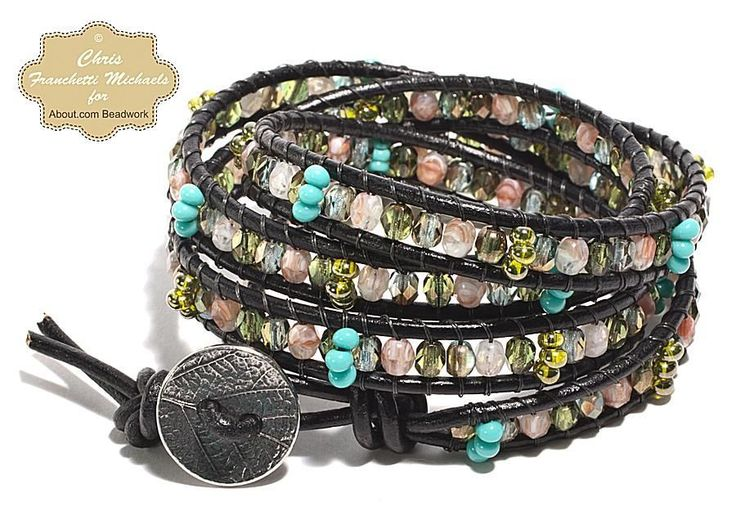 Learn how to make a stylish wrap bracelet using leather cord, glass beads, and beading thread with our step by step tutorial.