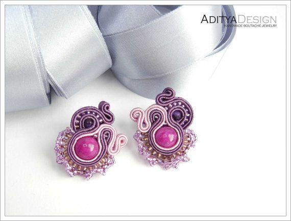 Soutache Earrings, Purple Pink, OOAK Earrings, Handmade Jewelry, Lightweight Earrings, Beadwork Earrings, Alextrasha Model by AdityaDesign on Etsy, $45.00