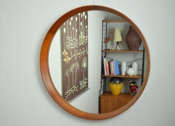Großer Runder Wandspiegel Spiegel Teak Dänisch