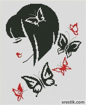 Stilnaya-devushka---2-300-1 Схема для вышивки scheme for cross stitch