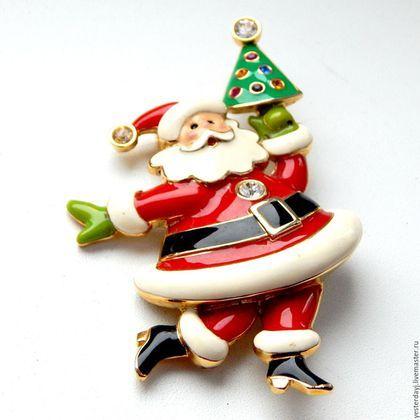 """Купить Bob Mackie Винтажная коллекционная брошь """"Веселый Санта"""" - комбинированный, брошь, брошь винтаж"""