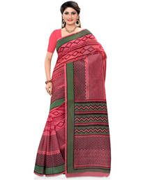 Buy peach printed cotton saree with blouse cotton-saree online