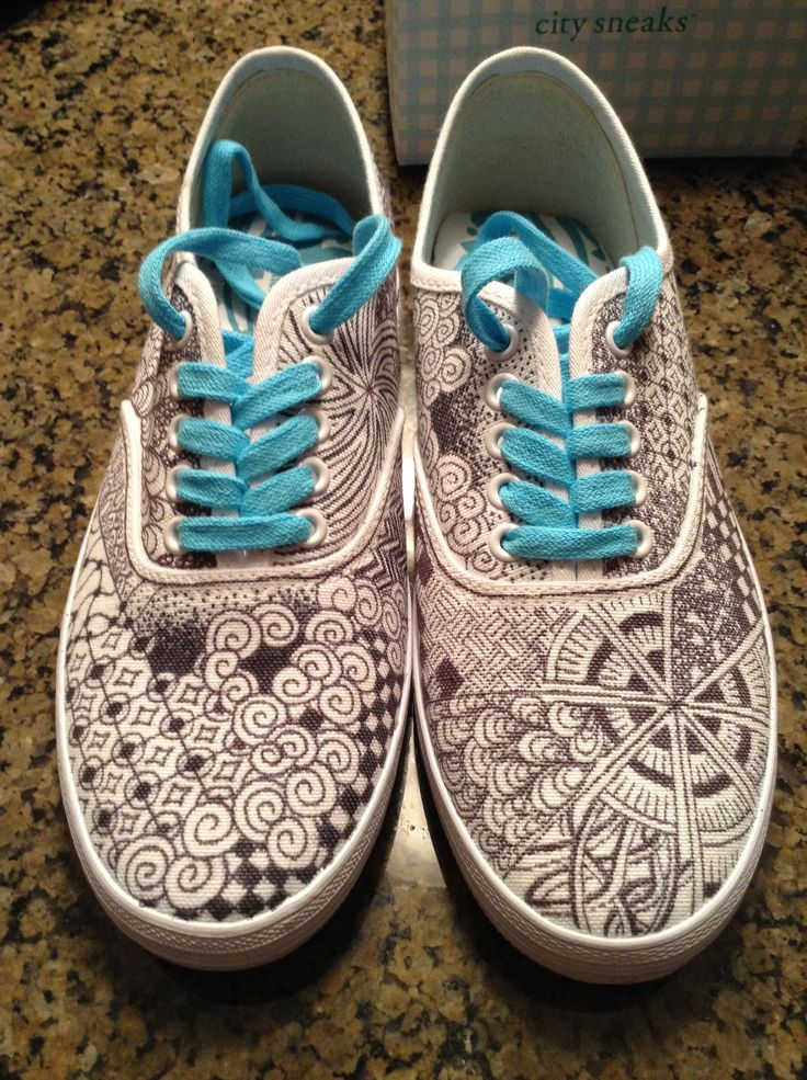 Zentangle shoes!! by Nicole Hampshire