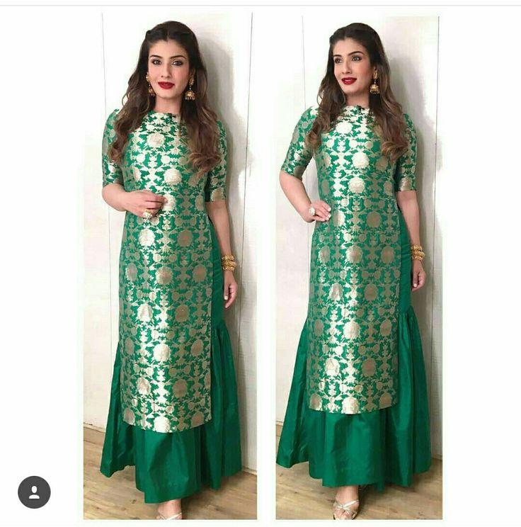This green banarasi kurti is beautiful