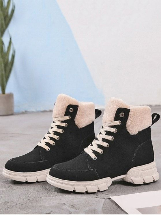 6477f529abf Suede Fur Lace-Up Patchwork Chunky Round Ankle Winter Fashion For ...