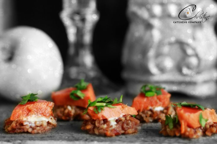GINGER AND GARLIC MARINATED BC SALMON SERVED OVER A WILD RICE CAKE WITH LEMON AIOLI http://www.christinecatering.com/