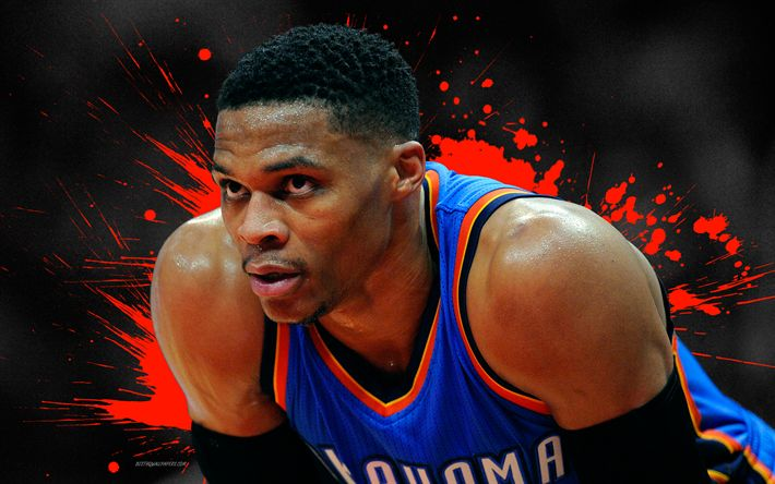 Download wallpapers Russell Westbrook, 4k, basketball players, NBA, Oklahoma City Thunder, grunge, basketball, art