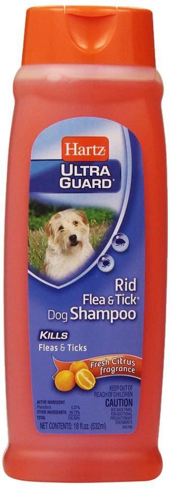 Need to get rid of your dog's fleas? Hartz UltraGuard is the solution to your problem! Hartz UltraGuard Rid Flea & Tick Shampoo for Dogs Shampoo is a cleansing shampoo treatment with Pyrethrins that kills fleas and ticks. This unique citrus scented, bright orange colored formula beautifies, freshens, cleans and deodorizes your dog in one easy and convenient step. Use with veterinary recommendation. Hartz UltraGuard Rid Flea & Tick Shampoo available at Pet Mart!