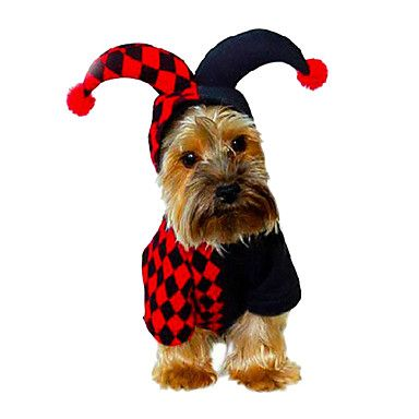 Plaid Clown Style Cosplay Poker King Hoodie Costume for Pets Dogs (Assorted Sizes) – USD $ 19.09