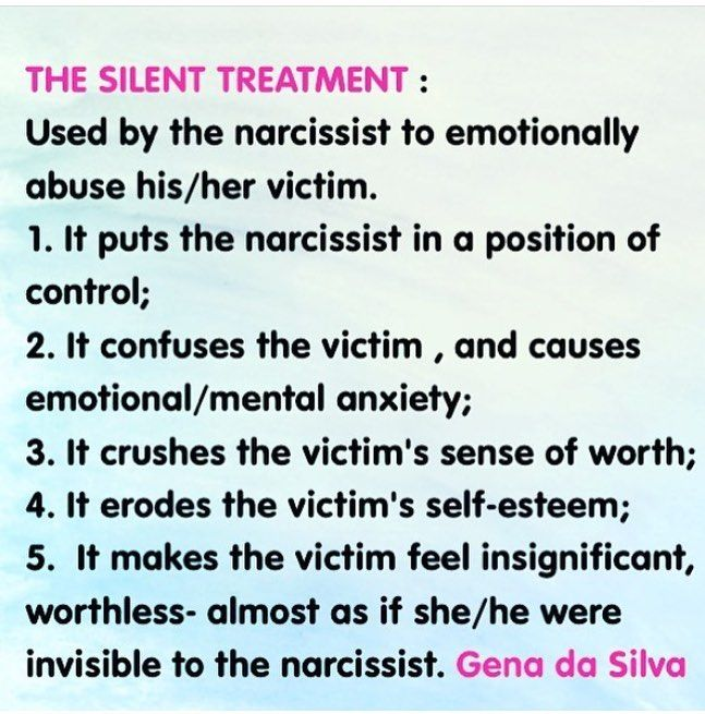 Narcissists use the SILENT TREATMENT to emotionally abuse their victims. | Narcissistic Abuse Recovery