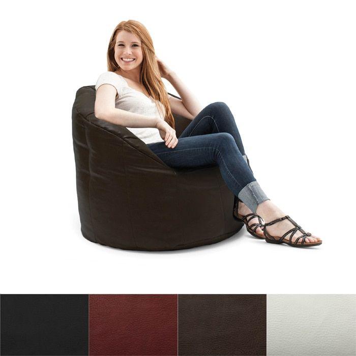 BeanSack Big Joe Milano Vegan Leather Bean Bag Chair Black Size Large Faux