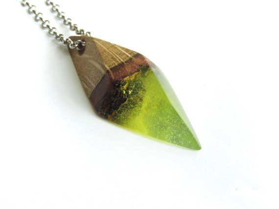 Green resin necklace Resin wood jewelry Green by WoodAllGood