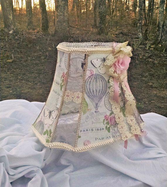 Abat-jour en tissu abat-jour dentelle, décor parisien, Cottage, ballon à Air chaud Paris, n Shabby Chic ombre, Marie Antoinette, abat-jour victorien