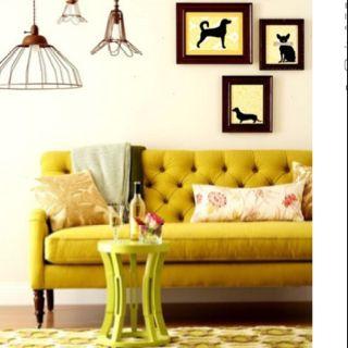 Yellow velvet sofa @Krystal Gresham Krehbiel -- reminds me of you.