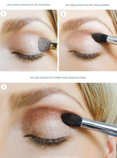 Use your shadow brushes with medium pressure to your lid and light pressure to your crease.