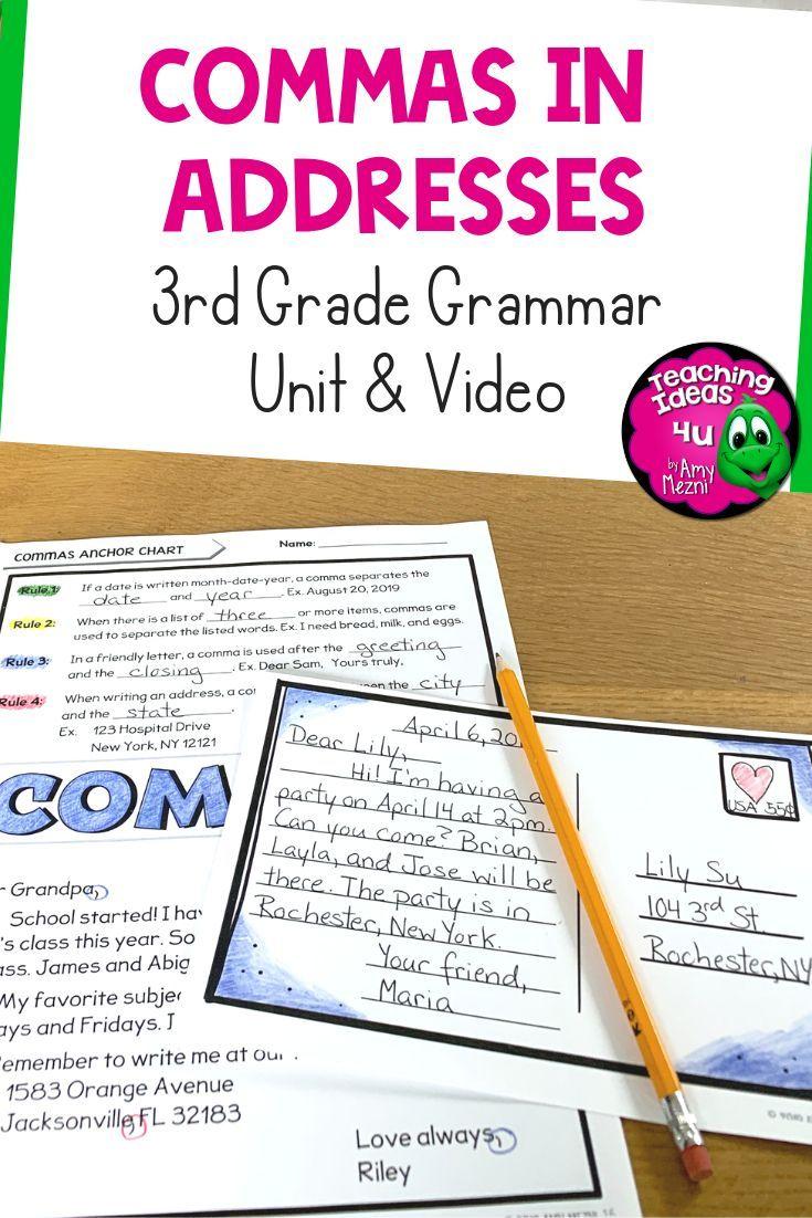 Commas in Addresses Unit & Lesson Video  Friendly letter unit