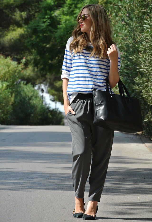 Stripe Shirt and Baggy Pants Outfit