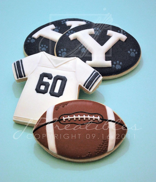 Football cookies http://cookiecutter.com/tee-shirt-cookie-cutter.htm