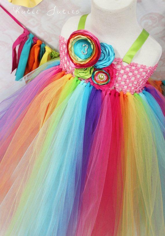 The Rainbow Tutu Dress & Headband, Candy Land Pink Aqua Orange turquoise, lime green yellow by KutieTuties candy land, carnival infant, toddler, 1st birthday, birthday, newborn, baby, girl