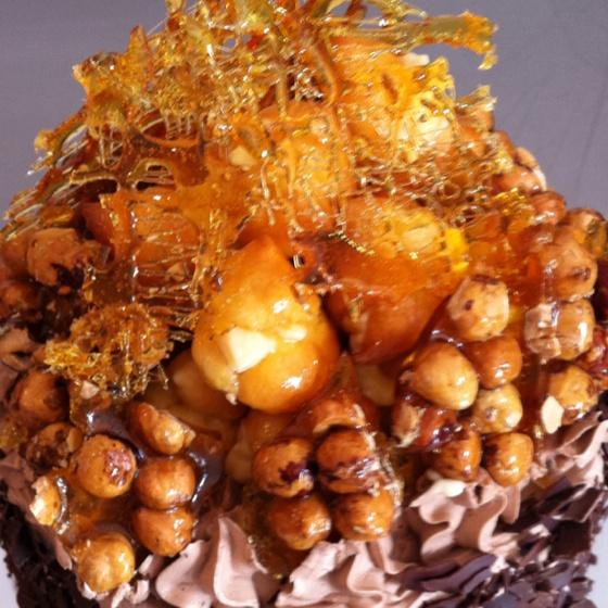 Choc Hazelnut Profiterole Cake