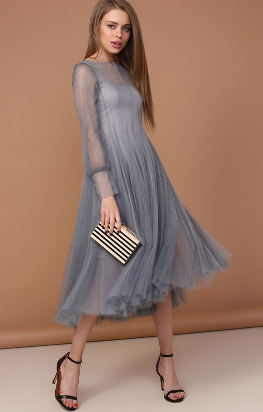 Платье-миди из невесомой сетки в викторианском стиле TOP20 Studio / 2000000250562-0